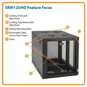 12U Heavy-Duty, Side-Mounting Wall Mount Rack Enclosure Server Cabinet