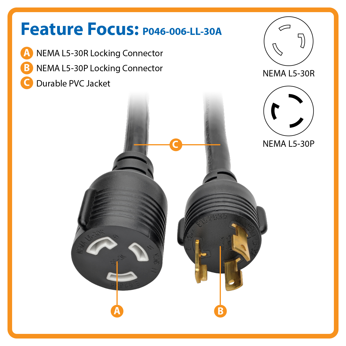Tripp Lite Heavy Duty Power Extension Cord 30a 10awg L5 30p 30r 6 Wiring Ac Plug Product Image