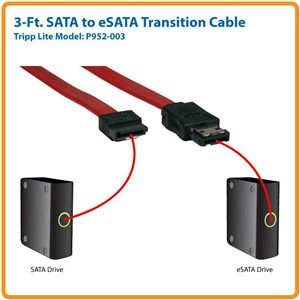 SATA to eSATA Transition Cable with Transfer Rates of Up to 6 Gbps