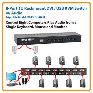 8-Port 1U Rackmount DVI / USB KVM Switch w/ Audio