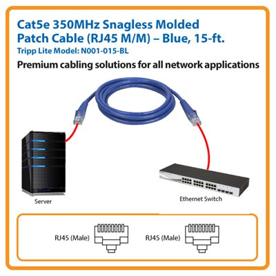 15-ft. Cat5e 350MHz Snagless Molded Patch Cable (Blue)