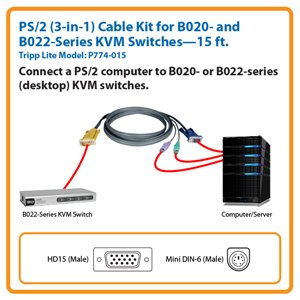15-ft. PS/2 (3-in-1) Cable Kit for Tripp Lite's B020-008/016 Series and B022-Desktop Series KVM Switches