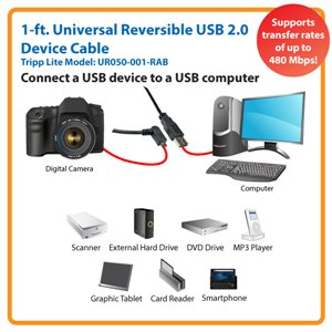 Right-Angled Universal Reversible USB 2.0 Hi-Speed Cable for Maximum Performance