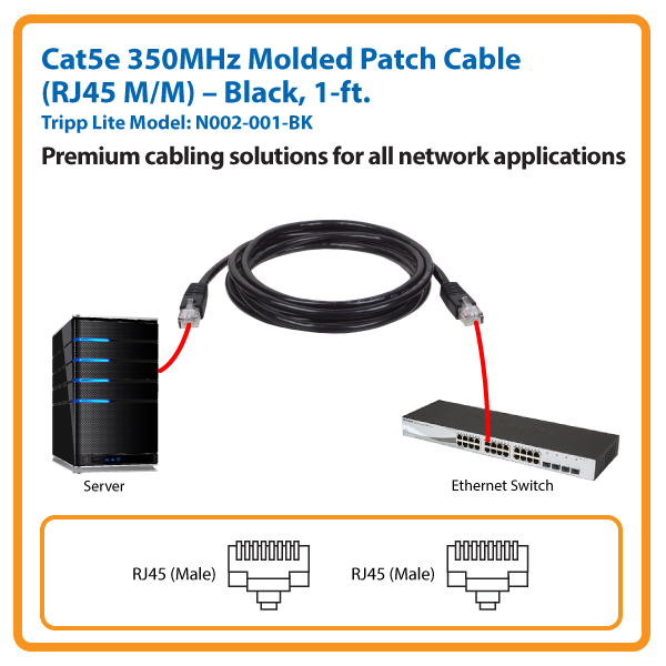 1-ft. Cat5e 350MHz Molded Patch Cable (Black)