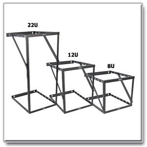 Expandable Rack Assembles in 8U, 12U or 22U For Equipment Up to 23.5 in. Deep