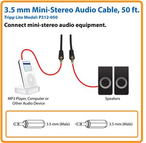 50 ft. Cable Connects Your Smartphone or MP3 Player to a Stereo System