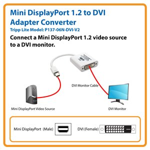 Connect Your DVI Monitor to a Computer with a Mini DisplayPort 1.2 Output