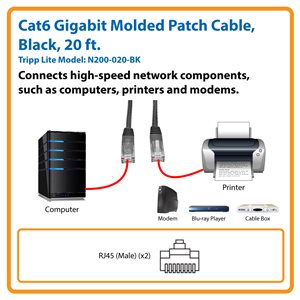 Cat6 Gigabit Molded Patch Cable (RJ45 M/M), Black, 20 ft.