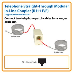 Telephone Straight-Through Modular In-Line Coupler (RJ11 F/F)