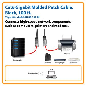 Cat6 Gigabit Molded Patch Cable (RJ45 M/M), Black, 100 ft.