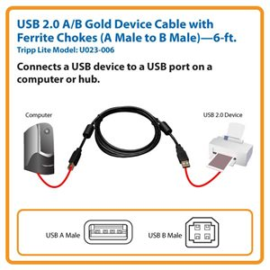 USB 2.0 Hi-Speed Cable-6ft