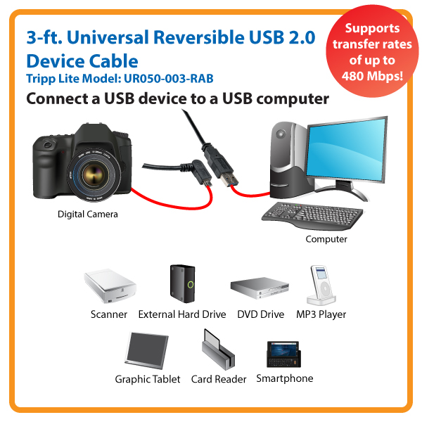 Right-Angled Universal Reversible USB 2.0 3 ft. Hi-Speed Cable