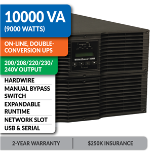 SU10KRT3UHV SmartOnline® Hot-Swappable Double-Conversion Rack/Tower Sine Wave UPS with Expandable Runtime, Bypass Switch, Network Slot and LCD/LED Control Panel