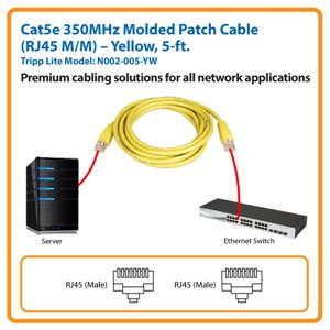 5-ft. Cat5e 350MHz Molded Patch Cable (Yellow)