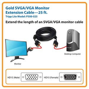 Extend the Length of an SVGA/VGA Monitor Cable 25 ft.