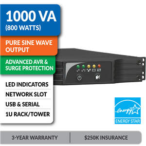 SMART1000RM1U SmartPro® Line-Interactive Rack/Tower Sine Wave UPS with Network Slot