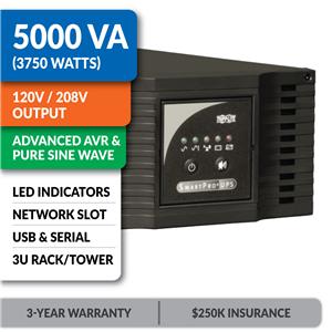 SMART5000TEL3U SmartPro® Line-Interactive Rack/Tower Sine Wave UPS with Network Slot