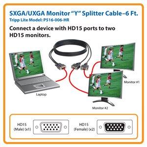Splits VGA Video Signal for Simultaneous Display on 2 HD 15-Pin Monitors