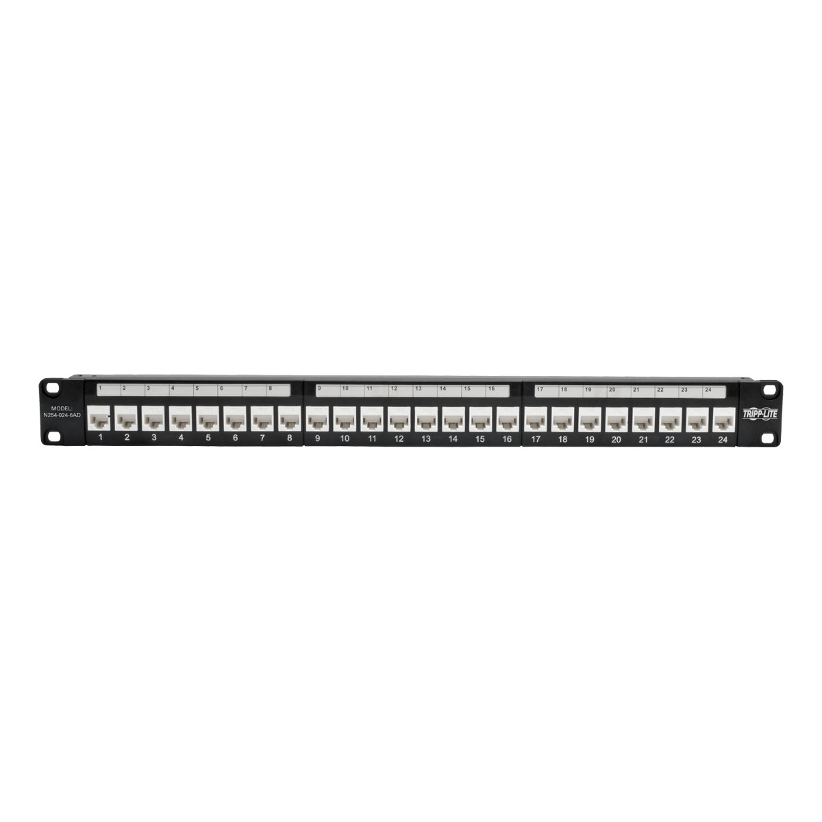 Tripp Lite 24 Port Cat6a Feedthrough Patch Panel W Down Angled Ports 19inch Cat6 Utp T568a T568b Wiring 1ru 110 Termination 1u Taa N254 024 6ad Network Cable Accessories