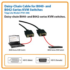 6-ft. Daisy-Chain Cable for Tripp Lite's B040- and B042-Series KVM Switches