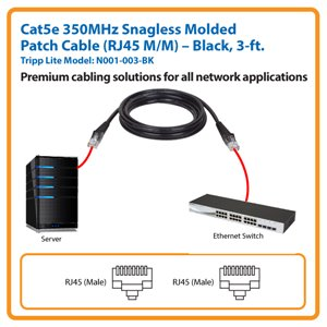 3-ft. Cat5e 350MHz Snagless Molded Patch Cable (Black)