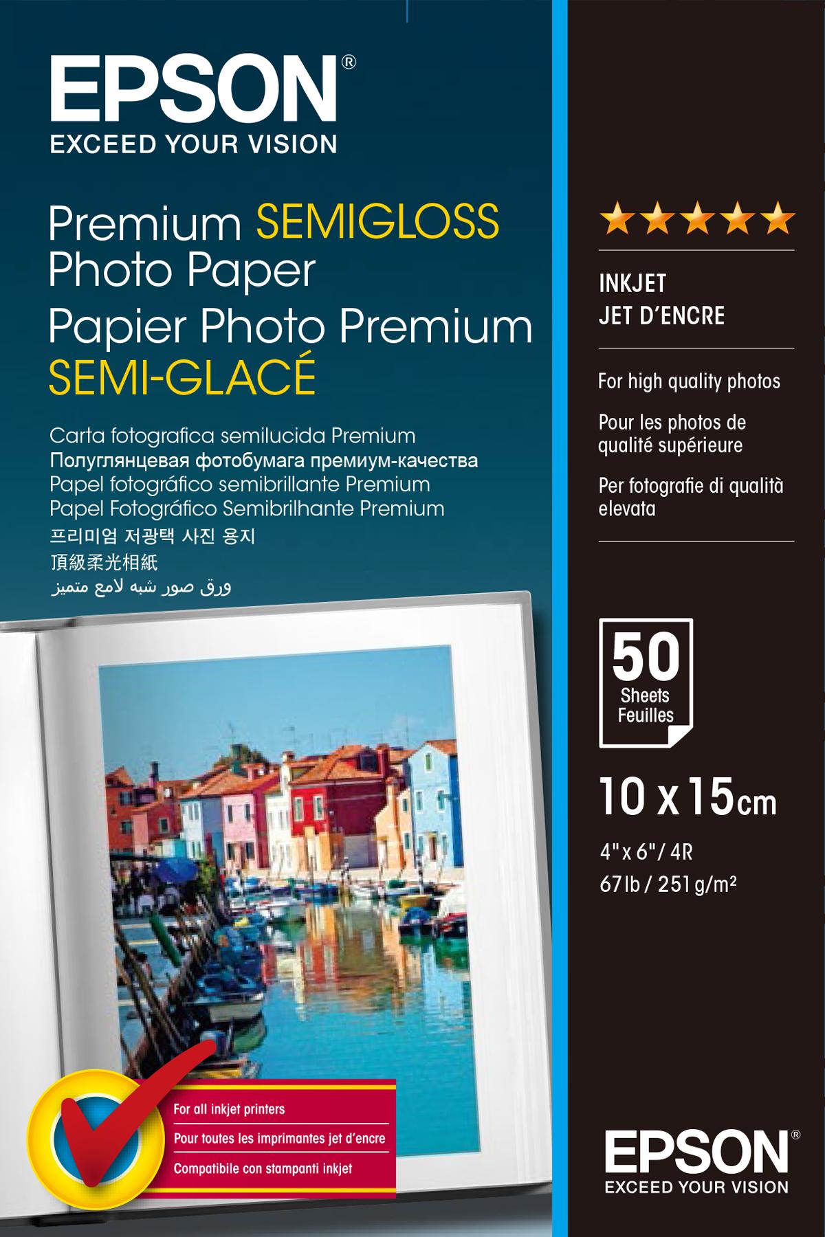 Epson Premium Semigloss Photo Paper - Semi-glossy - 100 x 150 mm