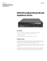 HPE 870 Unified Wired-WLAN Appliance Series data sheet