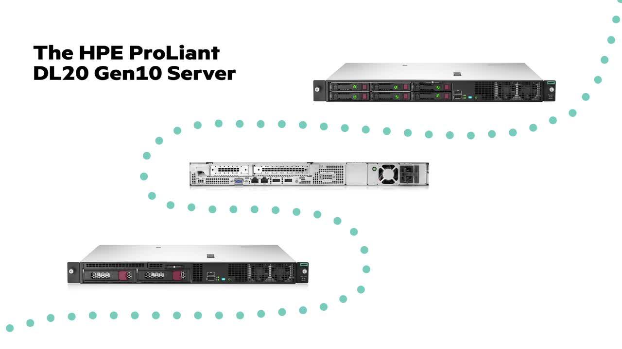 slide 1 of 5,show larger image, hpe proliant dl20 gen10 e-2236 1p 16gb-u s100i 4sff 500w rps server