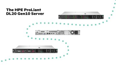 slide 1 of 5,zoom in, hpe proliant dl20 gen10 e-2236 1p 16gb-u s100i 4sff 500w rps server