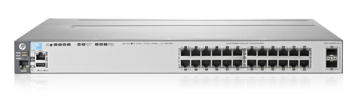 Switch 3800-24G-2SFP+, 24 RJ-45 autosensing 10/100/1000 ports, 2 fixed  1000/10000 SFP+ ports