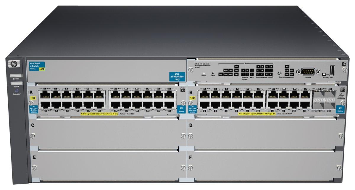 HPE Aruba 5406-44G-PoE+-4G-SFP v2 zl - switch - 44 ports - managed -  rack-mountable - with HP 5400 zl Switch Premium Li…