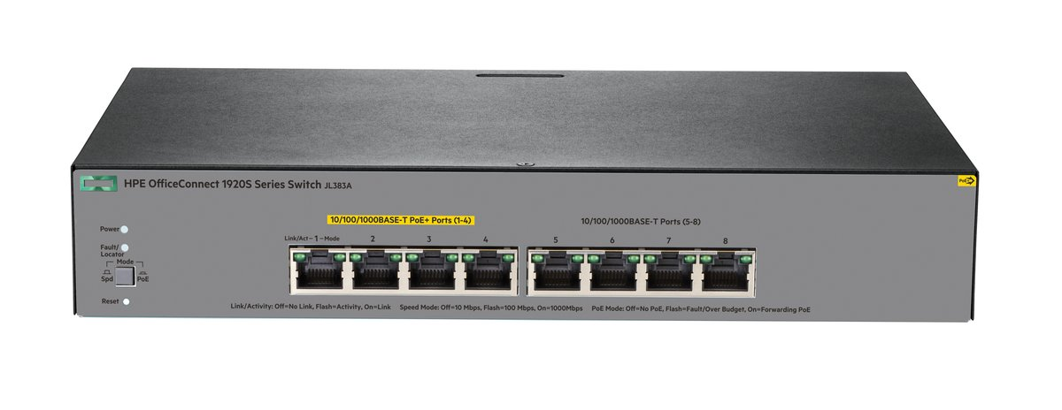 HPE OfficeConnect 1920S 8G PPoE+ 65W - switch - 8 ports - managed -  rack-mountable