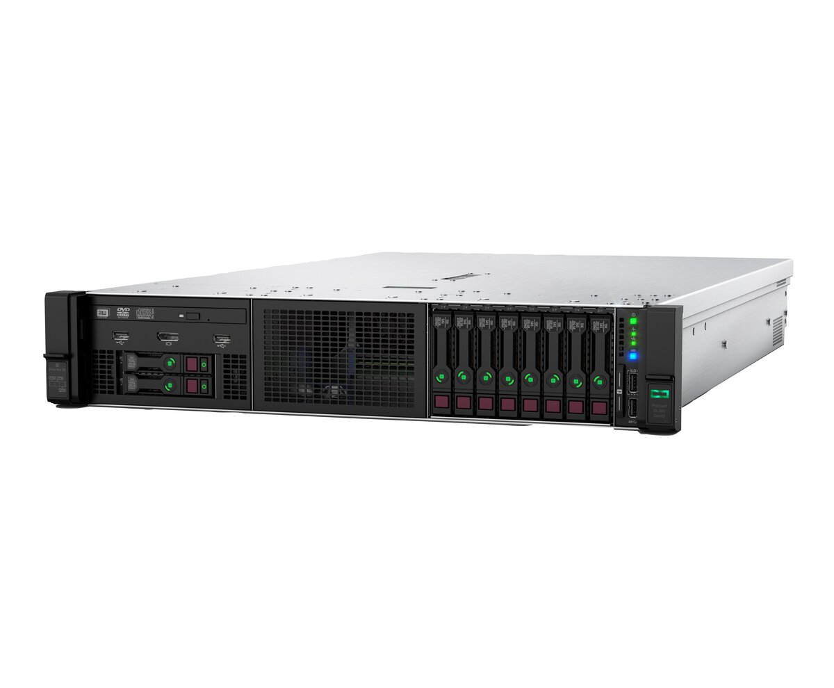 slide 6 of 10,show larger image, hpe proliant dl380 gen10 4208 1p 32gb-r p408i-a nc 8sff 500w ps server