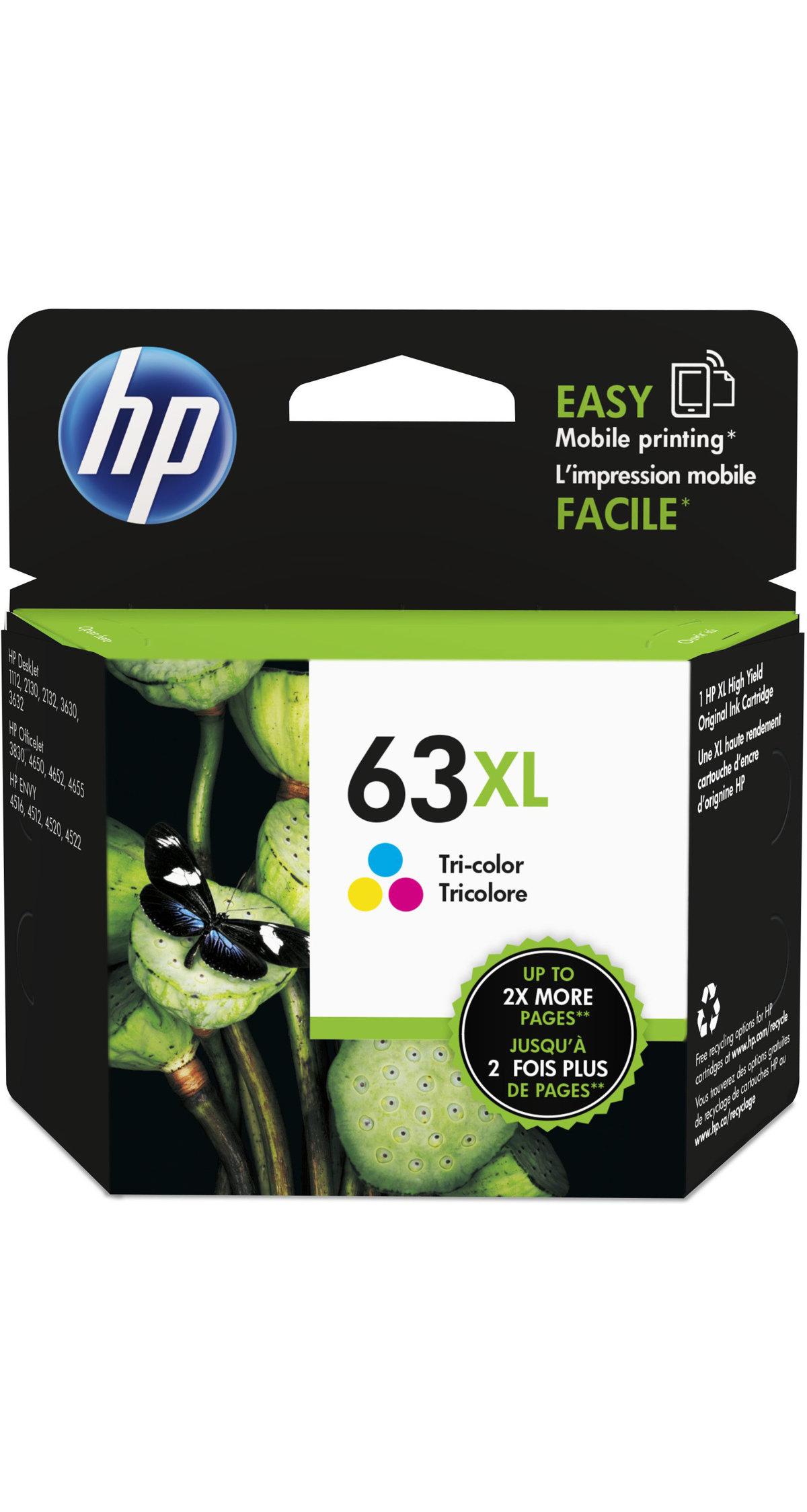 HP 63XL Tri color High Yield Original Ink Cartridge F6U63AN by fice Depot & ficeMax