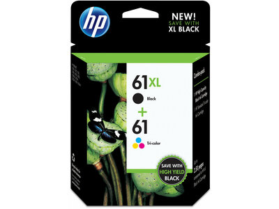 HP 61XL 2-pack High Yield Black/61 Tri-color Original Ink Cartridges