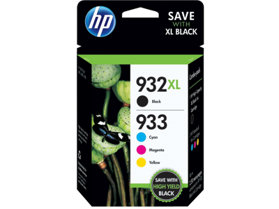 HP 932XL High Yield Black/933 Cyan/Magenta/Yellow 4-pack Original Ink Cartridges