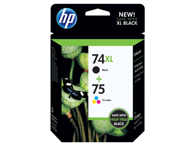HP 74XL High Yield Black/75 Tri-color 2-pack Original Ink Cartridges