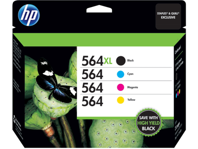 Genuine HP 564XL Black /& 564 Cyan Yellow 4-Pack Ink Cartridges Magenta