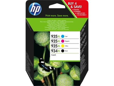 HP 934XL High Yield Black/935 Cyan/Magenta/Yellow 4-pack Original Ink Cartridges