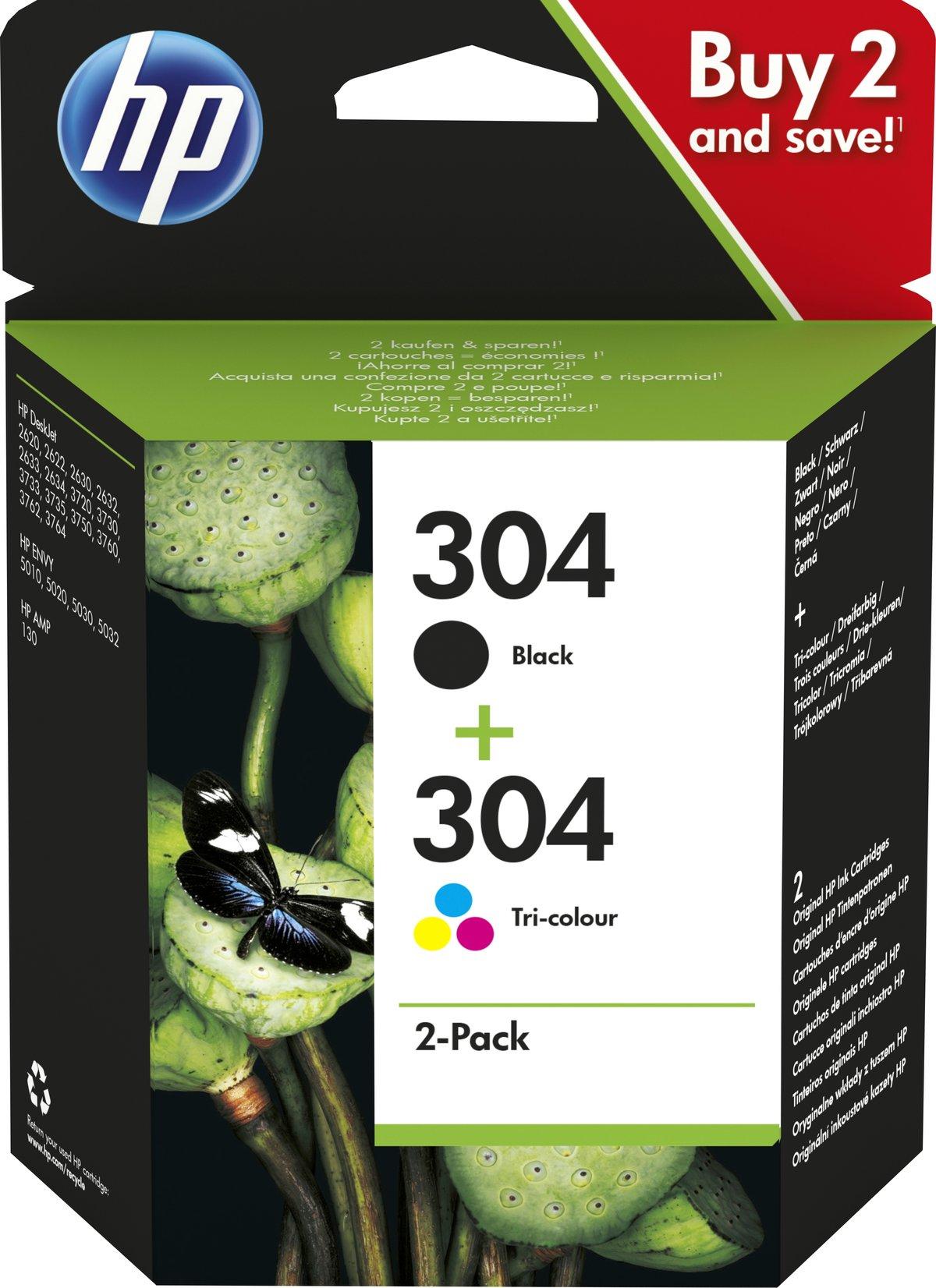 slide 1 of 1,show larger image, hp 304 2-pack black/tri-color original ink cartridges