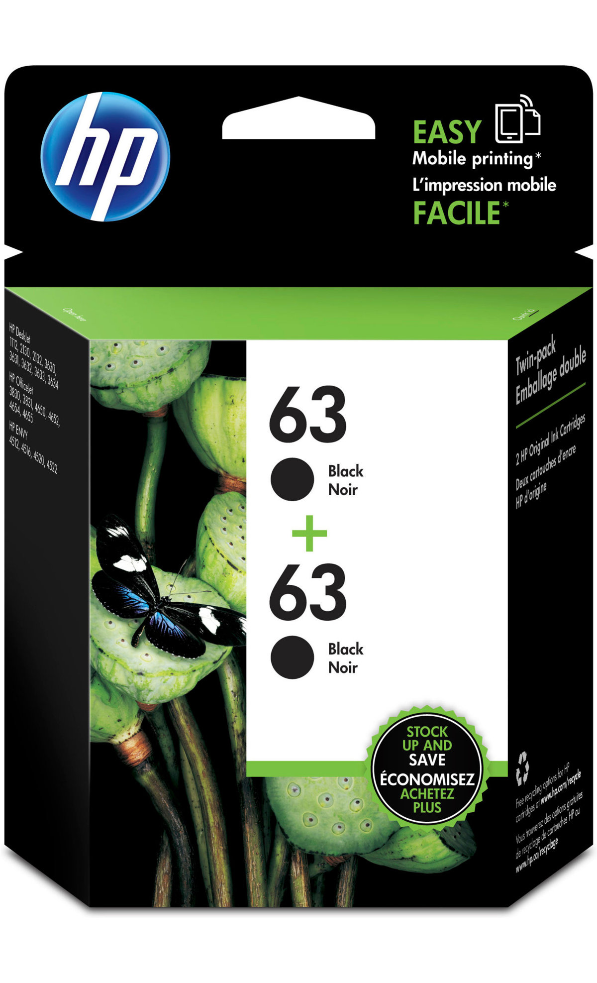 HP 63 Black Ink Cartridge T0A53AN140 Pack 2 by fice Depot & ficeMax