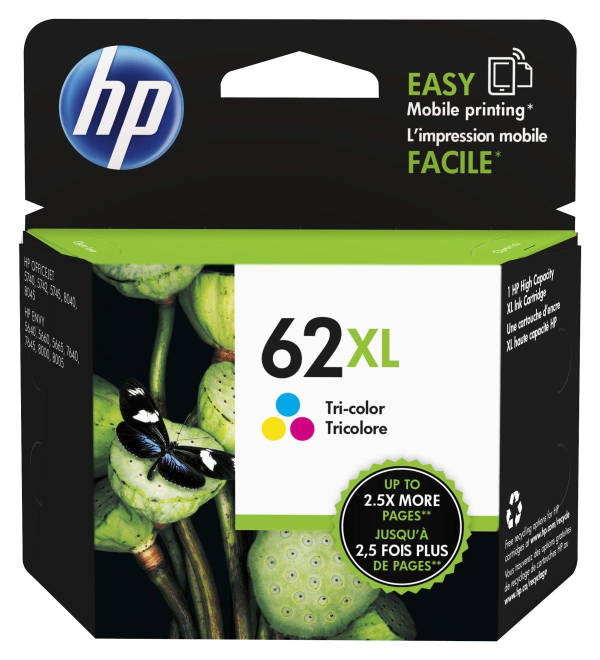 HP 62XL Tri color High Yield Original Ink Cartridge C2P07AN by ...