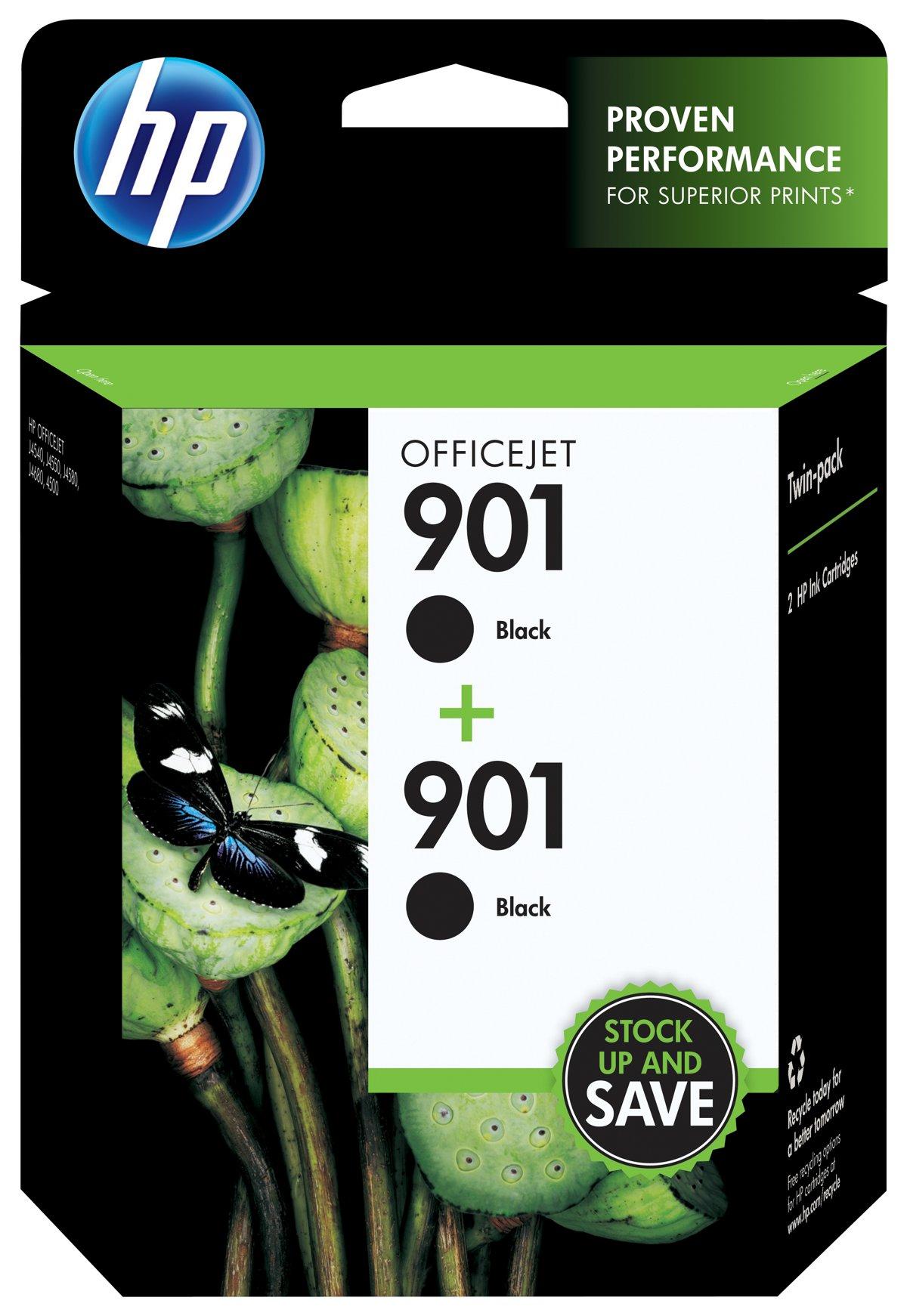 HP 901 Black Original Ink Cartridges CZ075FN Pack 2 by fice Depot & ficeMax