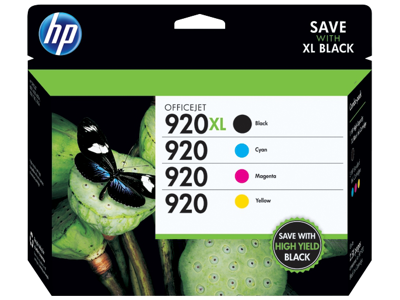 HP 920XL High Yield Black/920 Cyan/Magenta/Yellow 4-pack Original Ink Cartridges