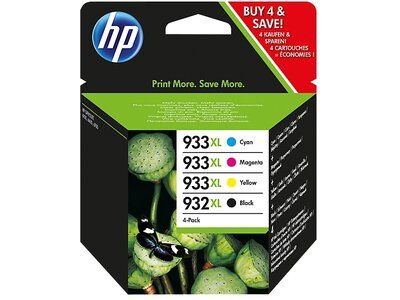 HP 932XL Black/933XL Cyan/Magenta/Yellow 4-pack Original Ink Cartridges