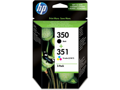 HP 350 Black/351 Tri-color 2-pack Original Ink Cartridges