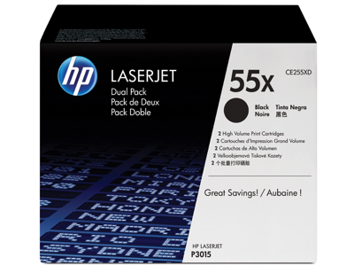 HP 55X 2-pack High Yield Black Original LaserJet Toner Cartridges