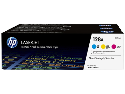 HP 128A 3-pack Cyan/Magenta/Yellow Original LaserJet Toner Cartridges