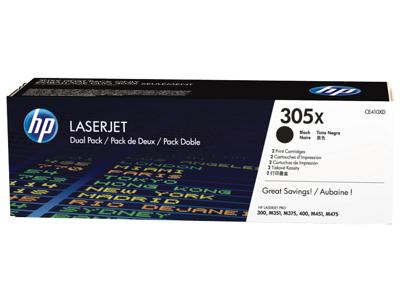 HP 305X 2-pack High Yield Black Original LaserJet Toner Cartridges