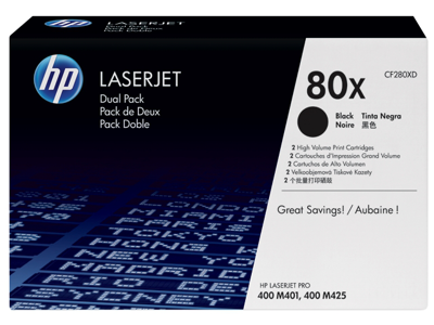 HP 80X 2-pack High Yield Black Original LaserJet Toner Cartridges